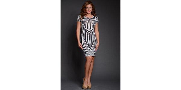 Dámske čierno-biele pruhované šaty Oriana