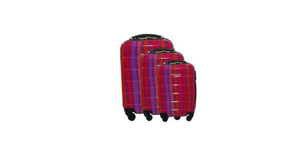 Dámsky červeno-fialový pruhovaný set troch kuforov na kolieskach Lulu…