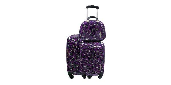 Dámsky čierno-fialový kvetovaný set dvoch kuforov a kozmetickej tašky Lulu…