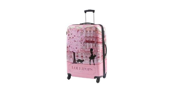 Dámsky ružový kufor na kolieskach s potlačou Lollipops