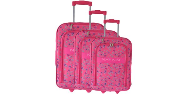 Dámsky set troch ružových kuforov na kolieskach od Naf Naf