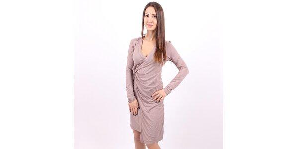 Dámske hnedošedé zavinovacie šaty Enelle