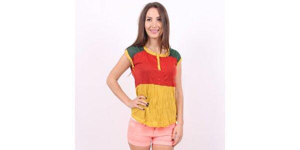 Dámske žlto-červeno-zeľané tričko Enelle