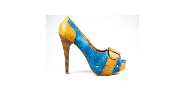 Dámske horčicovo-modré lodičky s volnou špičkou Y&K