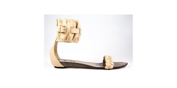 Dámske béžové sandálky s širokým pásikom Y&K