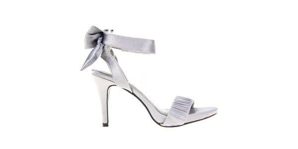 Dámske šedé sandálky s mašľou na päte KNK