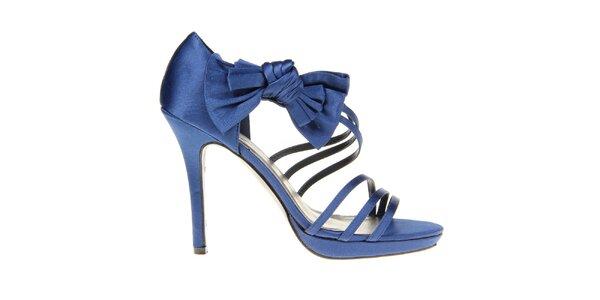 Dámske modré pásikové sandálky s mašľou KNK