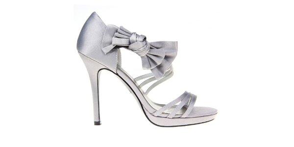 Dámske šedé pásikové sandálky s mašľou KNK