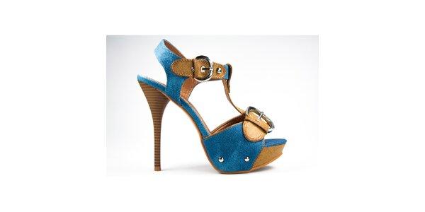 Dámske horčicovo-modré sandálky s prackami Y&K