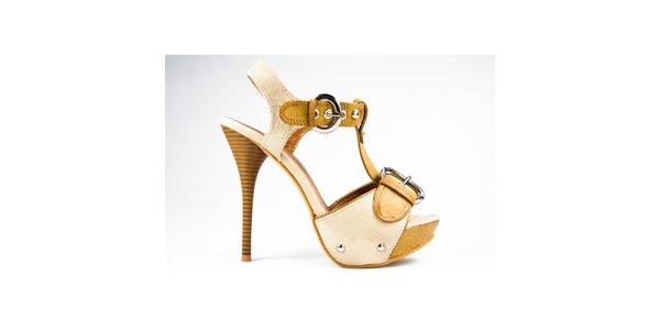 Dámske horčicovo-béžové sandálky s prackami Y&K