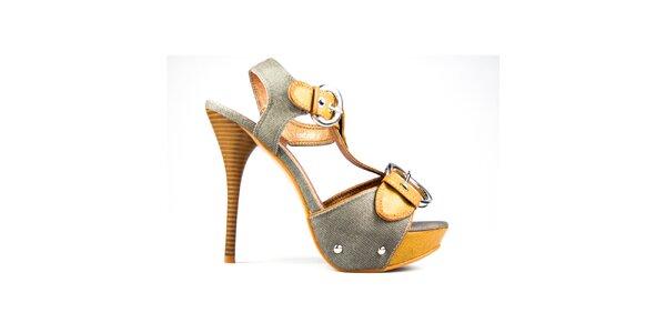 Dámske horčicovo-šedé sandálky s prackami Y&K