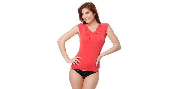 Dámske červené tričko Guess by Marciano s kamienkami