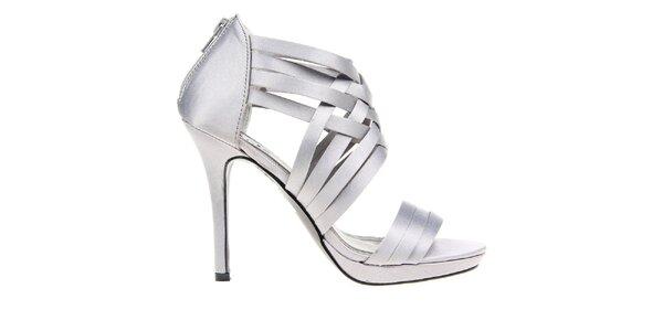 Dámske šedé pásikové sandálky KNK