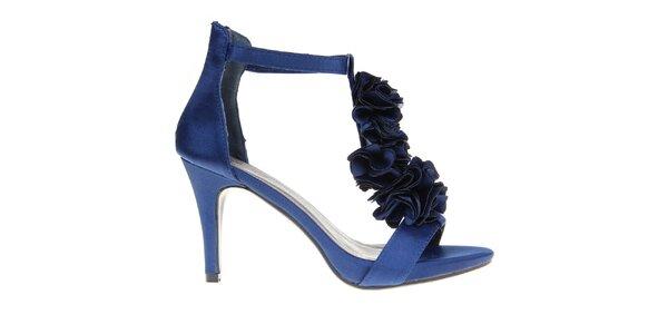 Dámske tmavo modré lodičky s kvetinovou aplikáciou KNK