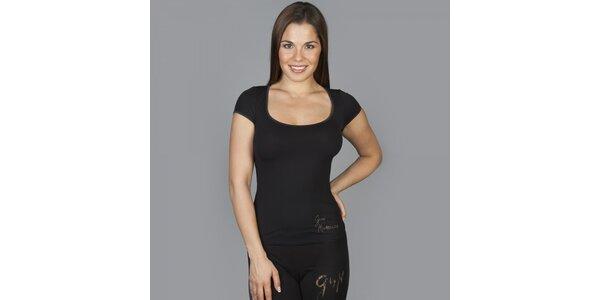 Dámske čierne tričko Guess by Marciano s kamienkami