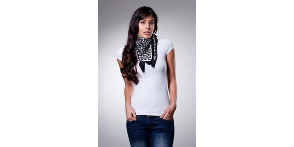 Dámsky černo-biely hodvábny šatka Dolce & Gabbana s pudlami