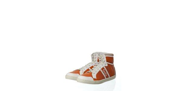 Pánske oranžové kožené tenisky Dolce & Gabbana s plsťou
