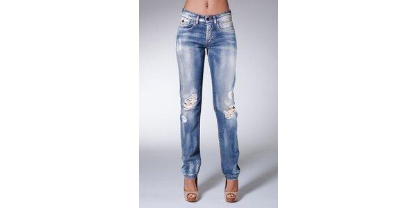 Dámske modré sprané džínsy Dolce & Gabbana s rozparkami