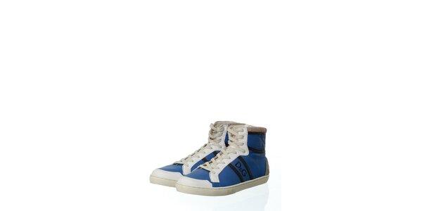Pánske tmavo modré kožené tenisky Dolce & Gabbana s plsťou