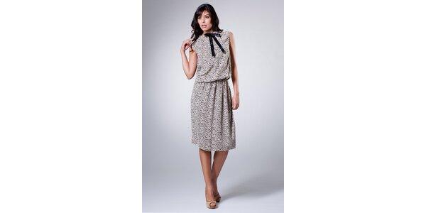 Dámske béžové šaty Dolce & Gabbana s čiernou potlačou a mašľou