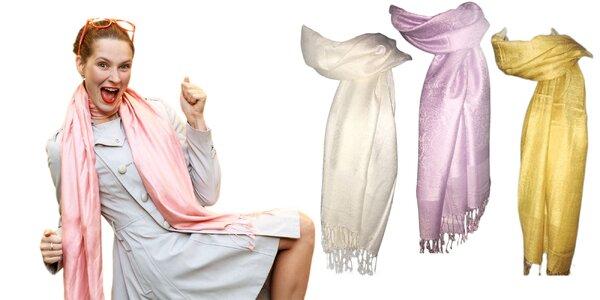 Jemný kašmírový šál - 16 farieb na výber