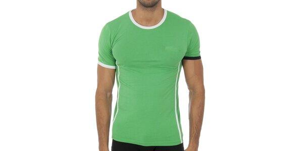 Pánske svetlo zelené podvliekacie tričko Bikkembergs s čierno-bielymi detailami