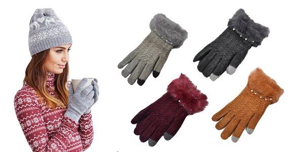 Huňaté dámske rukavice na dotykový displej