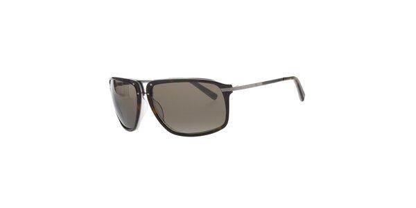 Pánske tmavo hnedé slnečné okuliare Calvin Klein s kovovými pacičkami