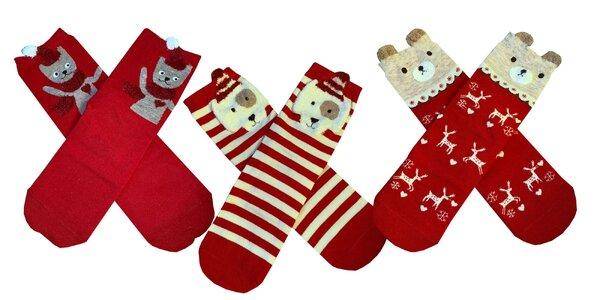 Dámske vianočné ponožky so zvieratkami