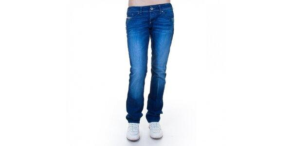 Dámske modré džínsy Diesel s pukmi