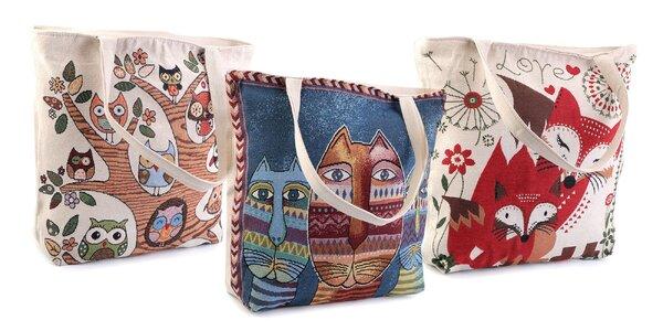 Ľanová taška s milými zvieratkami – na výber 6 motívov 836e6ff64aa