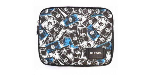 Pánske černo-biele púzdro Diesel na notebook s potlačou
