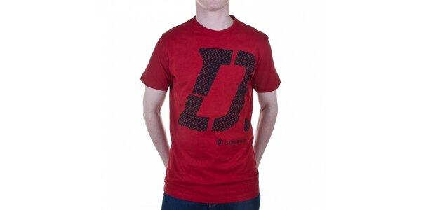 Pánske temne červené tričko Diesel s potlačou