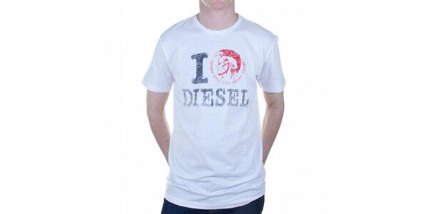 Pánske biele tričko Diesel s potlačou