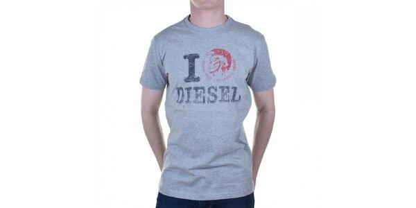 Pánske svetlo šedé tričko Diesel s potlačou