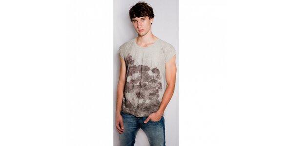 Pánske béžové tričko Diesel s potlačou