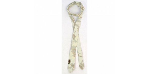 Pánska béžová kravata Diesel s potlačou