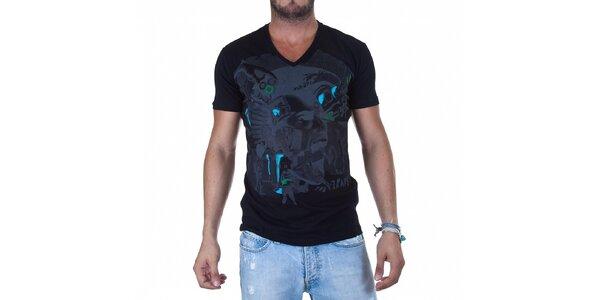 Pánske čierne tričko Diesel s potlačou