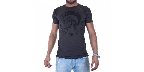 Pánske tmavo šedé tričko Diesel s potlačou