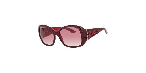 Dámske vínovo červené slnečné retro okuliare Fendi