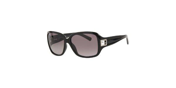 Dámske čierne slnečné okuliare s kovovým logom Fendi
