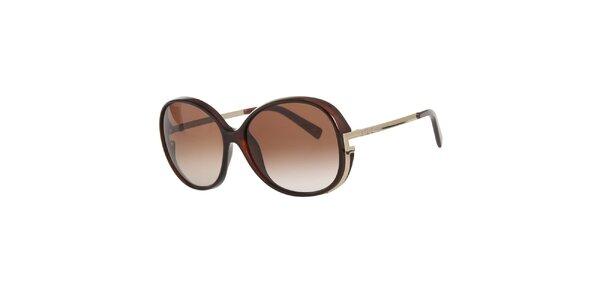Dámske hnedé slnečné okuliare s kovovými stranicami Fendi