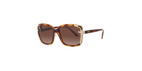 Dámske jantarovo-hnedé slnečné okuliare Fendi