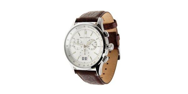 Ocelové hodinky Marc O´Polo s tmavo hnedým koženým remienkom a chronografom