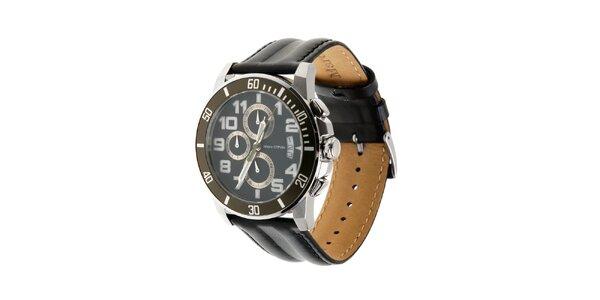 Marc O´Polo hodinky s čiernym koženým remienkom a chronografom