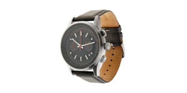 Marc O´Polo hodinky s tmavo zeleným koženým remienkom a strieborným ciferníkom