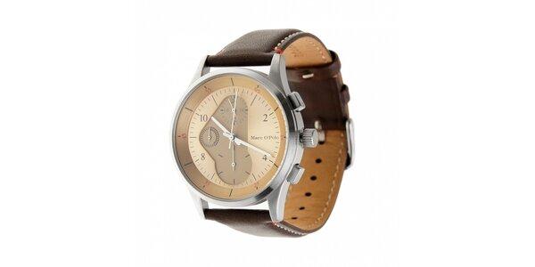 Pánske hodinky Marc O´Polo s tmavo hnedým koženým páskom