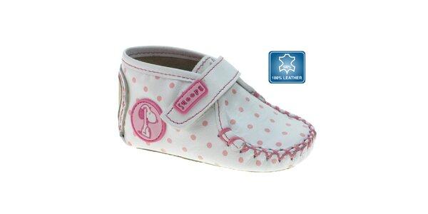 Biele dojčenské topánočky Beppi s ružovými bodkami