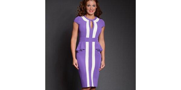 Dámske fialové šaty s bielymi pruhmi Simonette