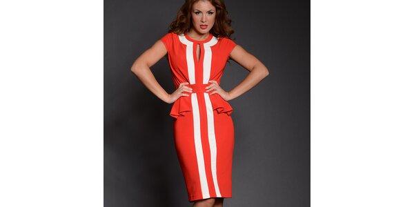 Dámske červené šaty s bielymi pruhmi Simonette
